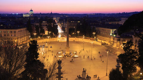 Piazza del Popolo. Time Lapse. Rome, Italy. 1280x720 Stock Video Footage