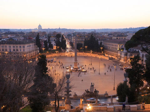 Piazza del Popolo. At sunset. Time Lapse. Rome, Italy. 640x480 Footage
