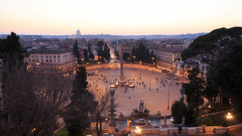 Piazza del Popolo. At sunset. Time Lapse. Rome, Italy. 1280x720 Footage