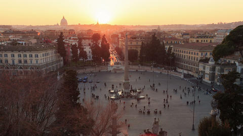 Piazza del Popolo. Zoom. Time Lapse. Rome, Italy. 1280x720 Stock Video Footage