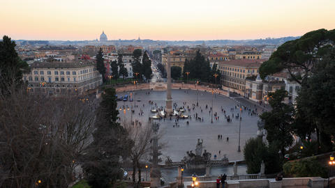 Piazza del Popolo. TimeLapse. Rome, Italy Stock Video Footage