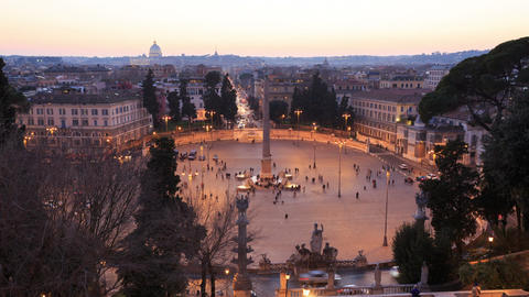 Piazza del Popolo. TimeLapse. Rome, Italy Footage