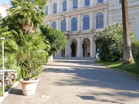 Facade and the park. Palazzo Barberini, Rome, Italy. 640x480 Stock Video Footage