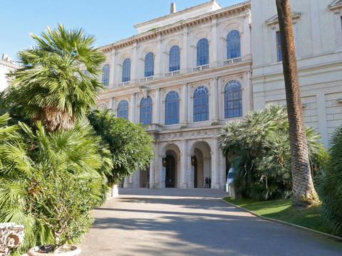 Facade and the park. Palazzo Barberini, Rome, Italy. 640x480 Footage