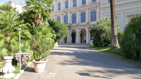 Facade and the park. Palazzo Barberini, Rome, Italy.... Stock Video Footage