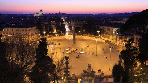 Piazza del Popolo. TimeLapse. Rome, Italy. 4K Stock Video Footage