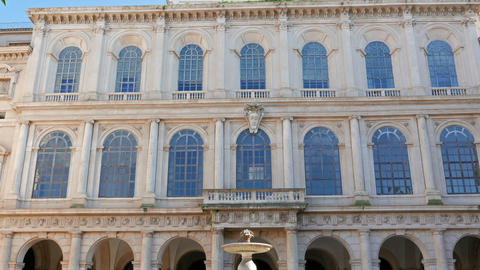 Facade and fountain. Palace Barberini, Rome, Italy. 1280x720 Footage
