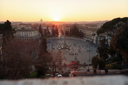 Piazza del Popolo. At sunset. Time Lapse. Rome, Italy. 4K+ Stock Video Footage