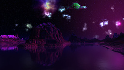 UFO, nebula and dreamscape Animation