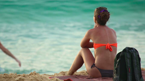 Woman on the beach Stock Video Footage