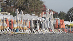 Sunbeds and parasols 1 Stock Video Footage