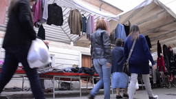 Pedestrian traffic in the clothing market 5 Footage