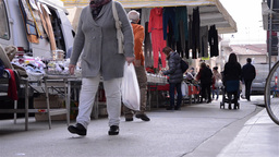 Pedestrian traffic in the clothing market 4 Footage