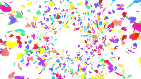 Heart petals rainbow front Bw 4k Animation