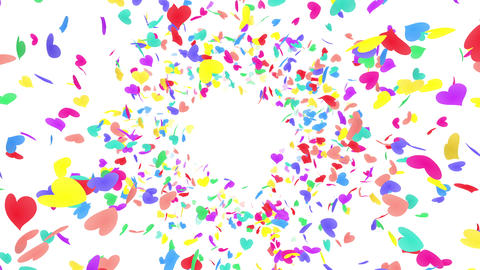 Heart petals rainbow front Bw 4k Stock Video Footage
