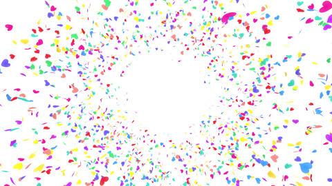 Heart petals rainbow front Cw 4k Stock Video Footage