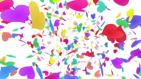 Heart petals rainbow front Dw 4k Animation