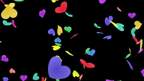 Heart petals rainbow tornado Ab 4k Stock Video Footage
