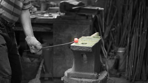 smith forging red iron Footage