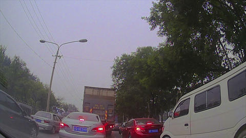 (Timelapse) Beijing China Suburb Driving to Downtown Stock Video Footage