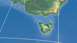 Tasmania extruded. Bumps shaded Stock Video Footage