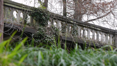 Old Balustrade with Barbed Wire 2 Stock Video Footage
