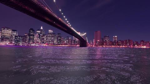 New York Brooklyn Bridge Night View HD Stock Video Footage