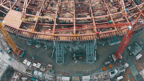 Aerial Shoot Football Stadium Under Construction Stock Video Footage