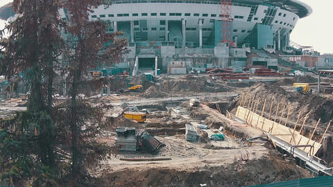 Aerial Shoot Football Stadium Under Construction Stock Video Footage