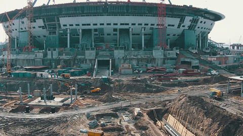 Aerial Shoot Football Stadium Under Construction Footage
