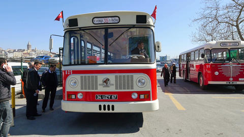 Nostalgic buses back on Istanbul roads Stock Video Footage