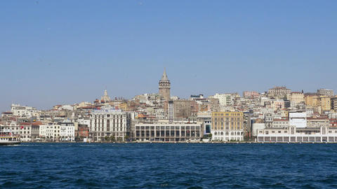 Karakoy port from cruise ship in Istanbul, Turkey Stock Video Footage
