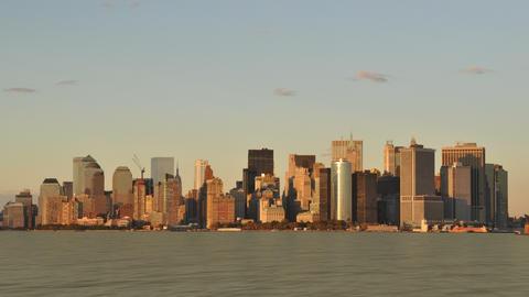 New York City Skyline Sunset Stock Video Footage