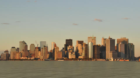 New York City Skyline Sunset stock footage