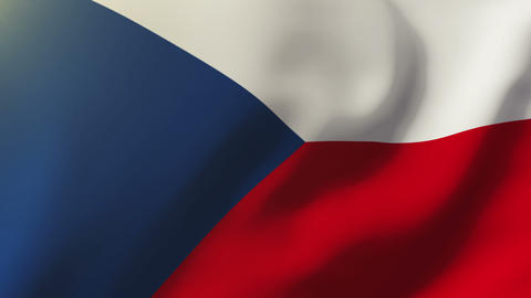 Czech Republic flag waving in the wind. Looping sun rises style. Animation loop Animation