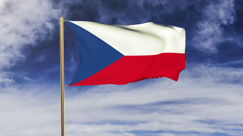 Czech Republic flag waving in the wind. Looping sun rises... Stock Video Footage