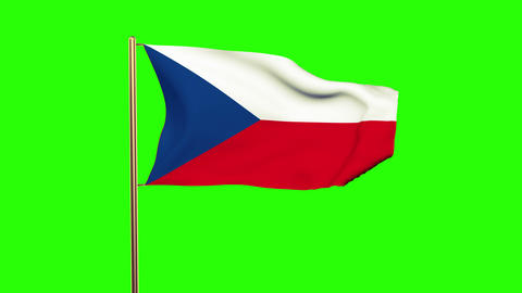 Czech Republic flag waving in the wind. Looping sun rises style. Animation loop. Animation
