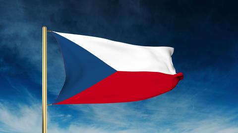 Czech Republic flag slider style. Waving in the wind with cloud background anima Animation