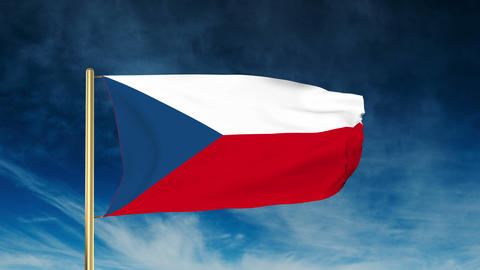 Czech Republic flag slider style. Waving in the wind with... Stock Video Footage
