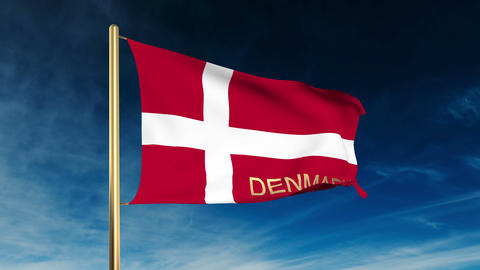 Denmark flag slider style with title. Waving in the wind... Stock Video Footage