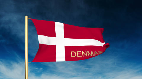 Denmark Flag Slider Style With Title. Waving In The Wind With Cloud Background A stock footage
