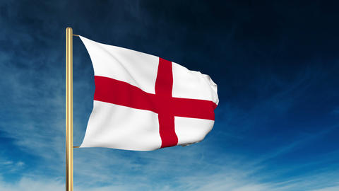 England flag slider style. Waving in the wind with cloud... Stock Video Footage