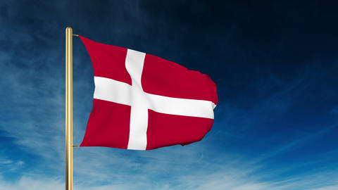 Denmark flag slider style. Waving in the wind with cloud... Stock Video Footage