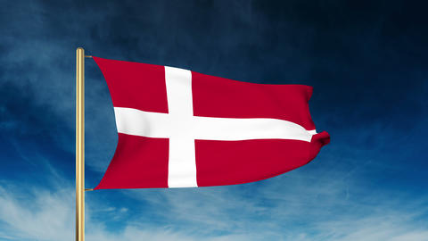 Denmark flag slider style. Waving in the wind with cloud background animation Animation