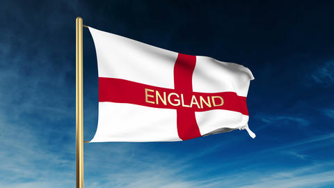 England flag slider style with title. Waving in the wind... Stock Video Footage