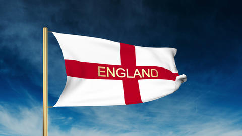 England flag slider style with title. Waving in the wind with cloud background a Animation