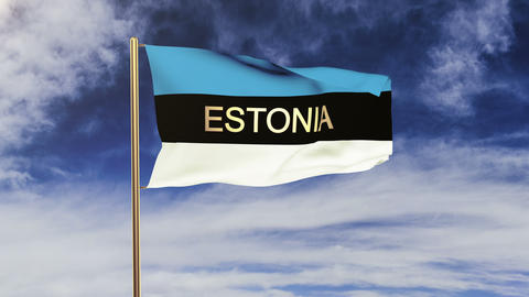 Estonia flag with title waving in the wind. Looping sun... Stock Video Footage