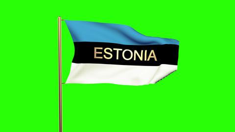 Estonia flag with title waving in the wind. Looping sun rises style. Animation l Animation