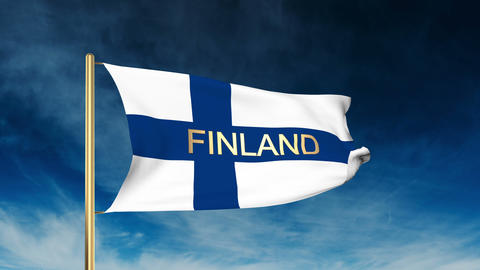 Finland flag slider style with title. Waving in the wind with cloud background a Animation