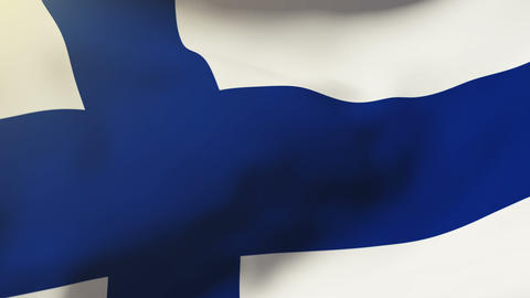 Finland flag waving in the wind. Looping sun rises style.... Stock Video Footage